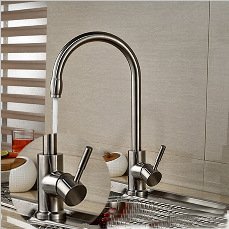Wholesale And Retail Deck Mounted Kitchen Faucet Nickel Brushed Vessel Sink Mixer Tap Single Handle Hole Hot And Cold Mixer new pull out sprayer kitchen faucet swivel spout vessel sink mixer tap single handle hole hot and cold
