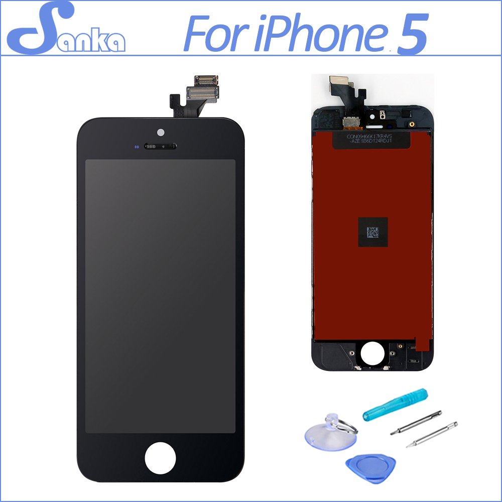 SANKA AAA for iPhone 5 LCD Touch Screen With Display Digitizer Ecran Assembly Replacement LCD Black Mobile Phone Parts