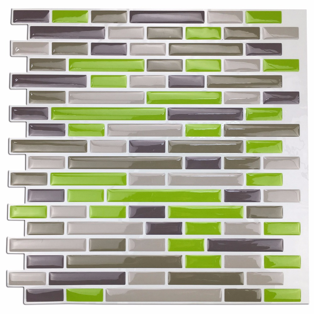 "Kitchen Backsplash Peel and Stick Fliser, Smart Brick Sticker Wall Fliser, Green 10 Pieces 11.8 ""X 11.8"""