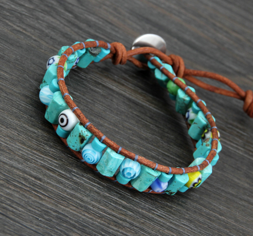 Unique Natural Stone Gl Evil Eye Beads Wrap Bracelets Whole Fashion Leather Bracelet S In From Jewelry Accessories