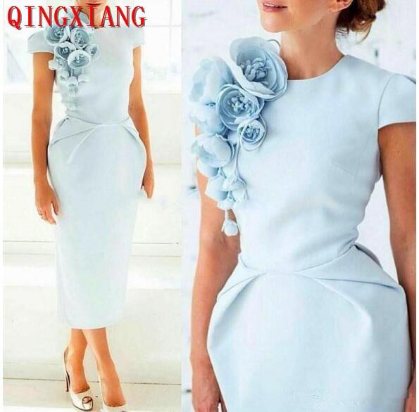 Light Blue Arabic Short Sleeves Sheath Cocktail Dresses Floral Tea Length Formal Party Dresses 2019