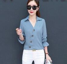New Fashion Women Leisure Temperament Long Sleeve V Neck Korean Style Loose Chiffon Shirts Blouses
