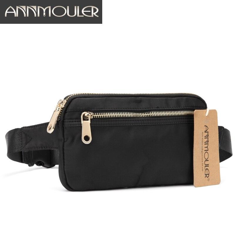 Annmouler Polyester Women Fanny Pack Large Capacity Waist Bag Black Double Zipper Waist Pack Ladies Chest Bag 4 Colors Bum Bag