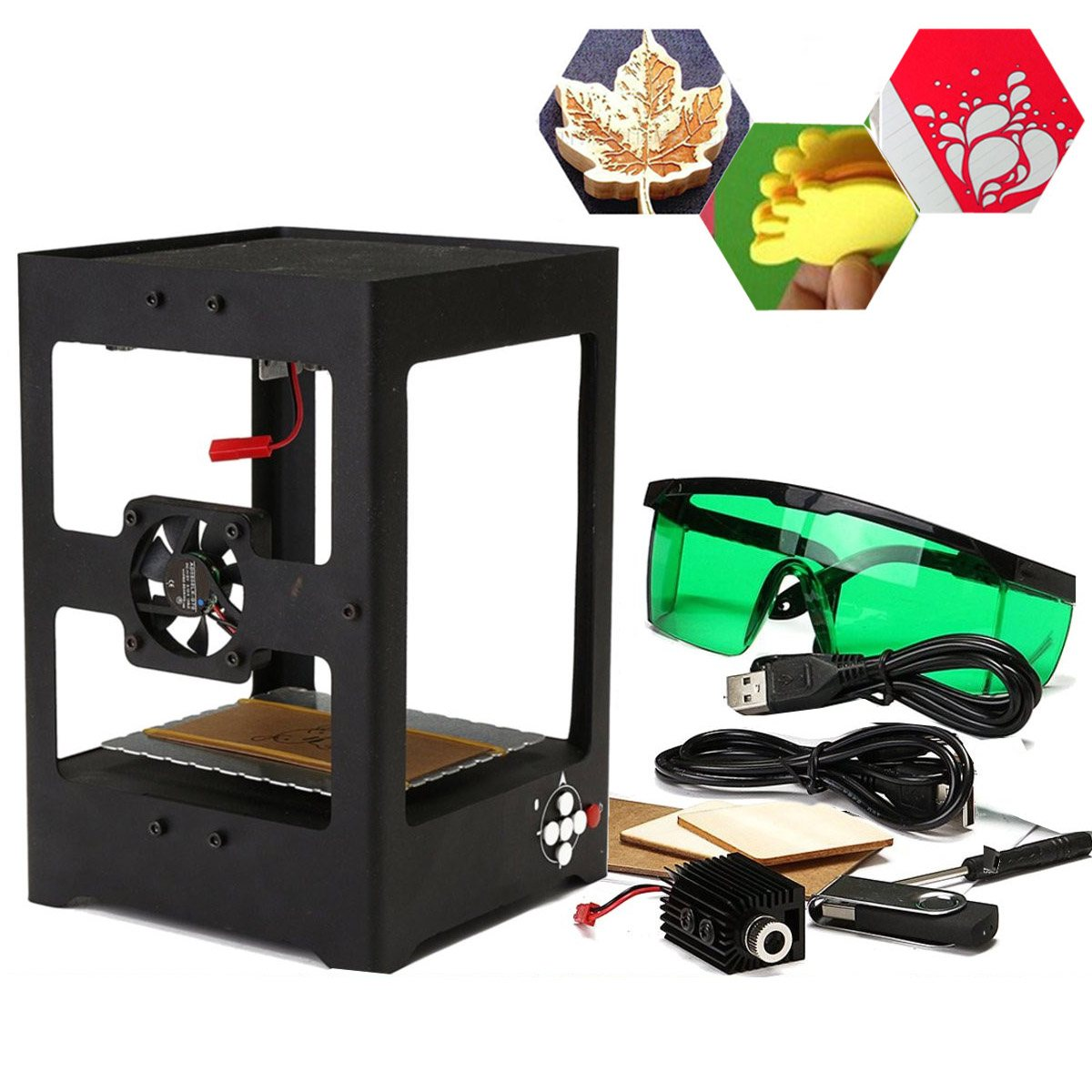 1000mW CNC USB Blue Purple Laser Engraver Printer Cutter Carver Mini DIY Engraving Machine High Speed with Protective Glasses