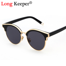 Long Keeper Brand Cat Eye Sunglasses Semi-Rimless Glasses Fashion Women 2017 NEW Fashion Women Men Sun Glasses Eyewears UV400