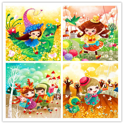 free shipping Children\'s cartoon figure canvas prints oil painting ...