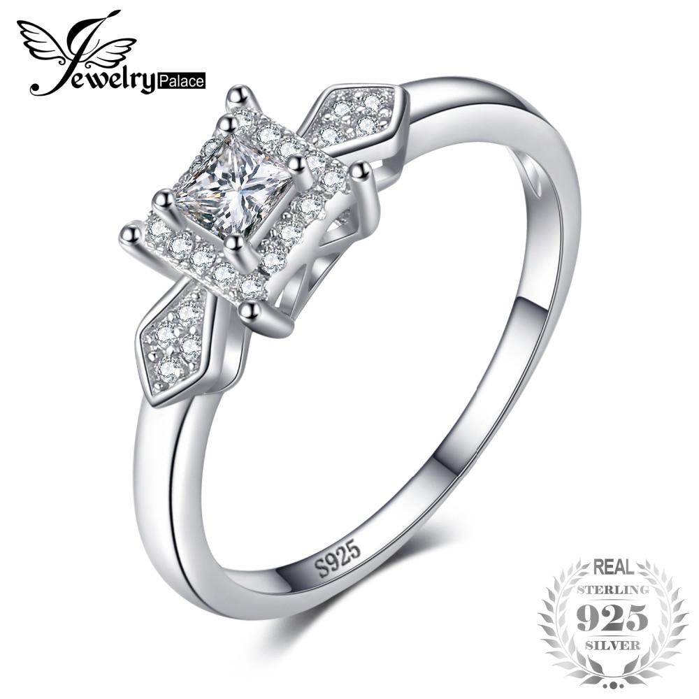 dc89e008ef50 JewelryPalace exquisito princesa corte Zirconia cúbico boda Aniversario de  moda de mujer anillo de Plata de Ley 925 regalo de cumpleaños