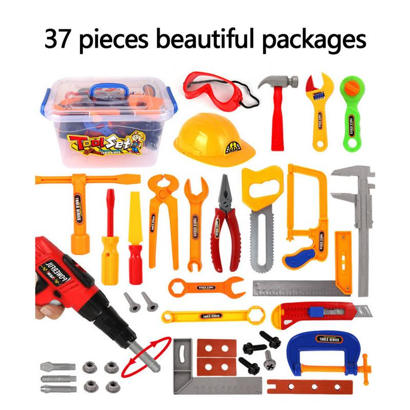 37 Pieces Pack In Box Kids Toy Tool Set Construction Tool Sets DIY Learning Multi Tool Boys House Playing Toy Christmas Gift