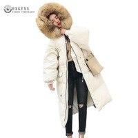Big Fur Collar Women Hooded Jacket 2018 Winter New Fashion Defined Waist Slim Down Cotton Coat