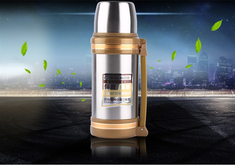 Big Thermos Su Şüşəsi Flask Paslanmayan Polad Metal Xarici - Mətbəx, yemək otağı və barı - Fotoqrafiya 4