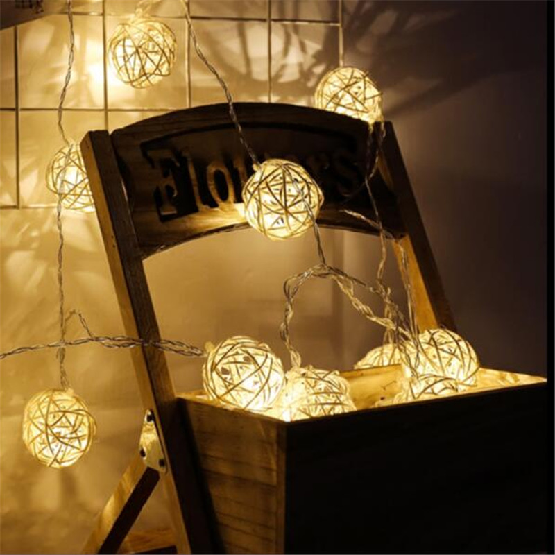 4M 20 LED Warm White Rattan Ball LED String Lighting Holiday Christmas Wedding Party Curtain Home Decoration Lights Drop