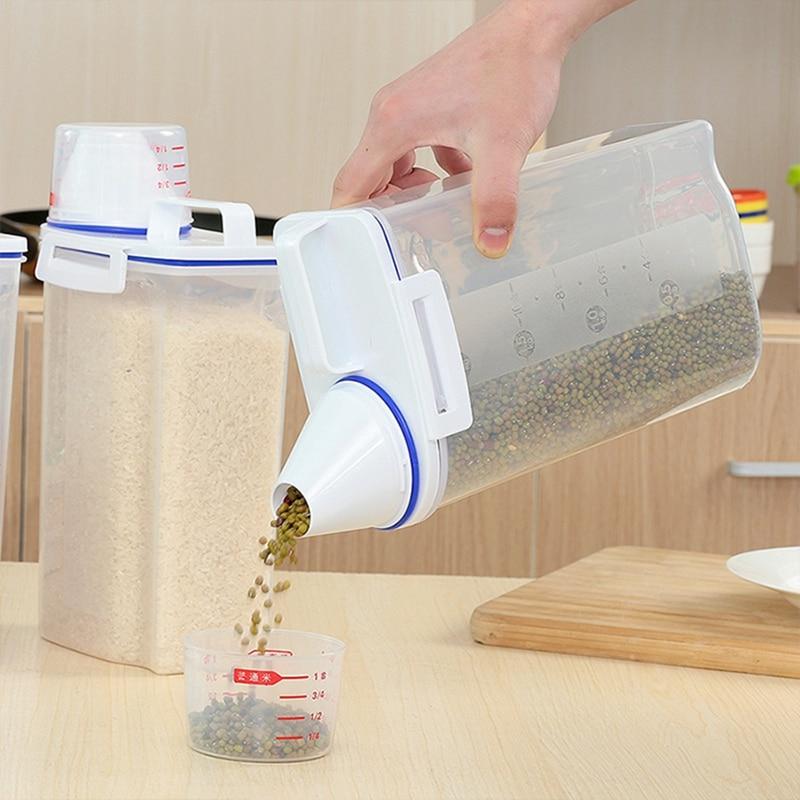 2 KG Cajas selladas a prueba de humedad con taza medidora Caja de almacenamiento de alimentos de cocina portátil Contenedor de almacenamiento de frijoles de avena