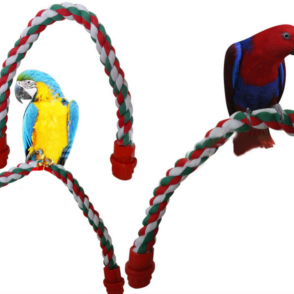Home & Garden Colorful Cotton Rope Parrot Bird Toys Decorative Pet Bird Parrot Standing Rope Cockatiel Parakeet Conure Cage Swing Perch Toy