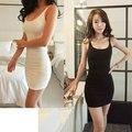 Mulheres sexy low-cut spaghetti strape de médio e longo colete modal bainha plus size fino sobre hip deslizamento completa