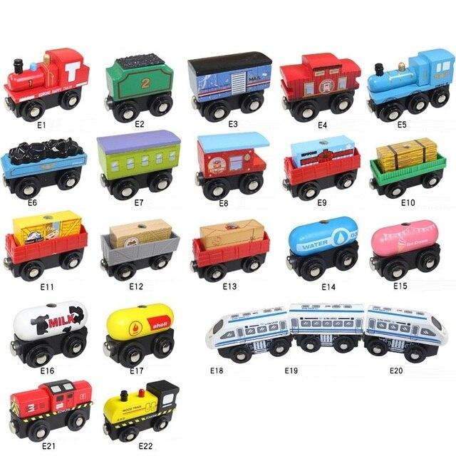 أطفال لعبة قطار قطار خشبي المغناطيسي جيمس أنيمي قاطرة سيارات لعب مسار خشبي قطار السكك الحديدية المركبات الأطفال هدايا عيد