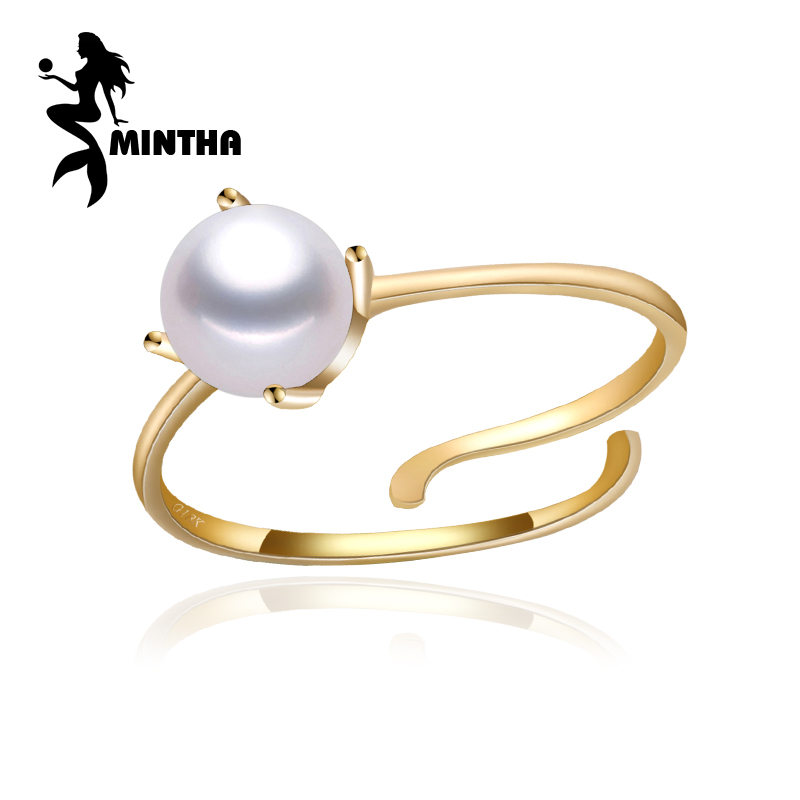 MINTHA brand 18K yellow gold ring,6 7mm round natural pearl ring for love,fairy rings jewelry bridal stone wedding bands