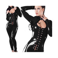 jumpsuit sexy lingerie lingerie Patent leather zipper a fork tight
