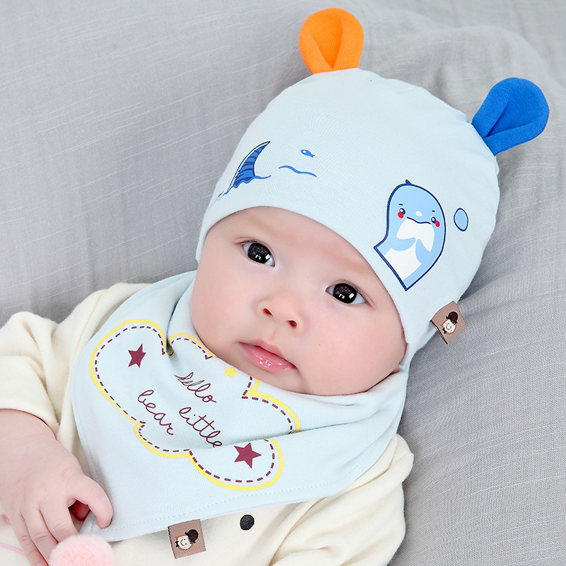 2 Pieces Summer Cotton Cute Baby Beanie Bib Set Infant Newbrn Boys Girls Beanie Hat Burpcloth Set 3-12M