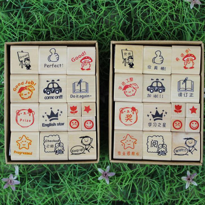 15Pcs/Set Chinese English Word Wood stamps cartoon pattern teacher comments encourage rubber stamp unique gift for kids she love teacher stamp self inking rubber stamp school homework reward education praise scrapbooking cartoon kids stamp