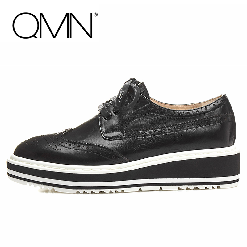 QMN women genuine leather platform flats Women Lace Cut Glossy Leather Square Toe Brogue Shoes Woman Lace Up Leisure Shoes 34-39 qmn women brushed leather platform brogue shoes women round toe lace up oxfords flat casual shoes woman genuine leather flats