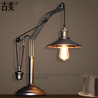 American Style Minute Surface Table Lamp Vintage Mirror Cover Bedroom Loft Table Lamp Study Lights Free Shipping