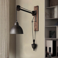 Industrial wind retro loft bedroom bedside American style creative iron bar pulley lifting wall lamp  LO81410