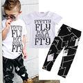 Tops T-Shirt + Calças Roupas Casuais Calças Moda Set Roupas de Verão 2016 Criança Crianças Meninos Roupa Do Bebê Conjuntos de Manga Curta