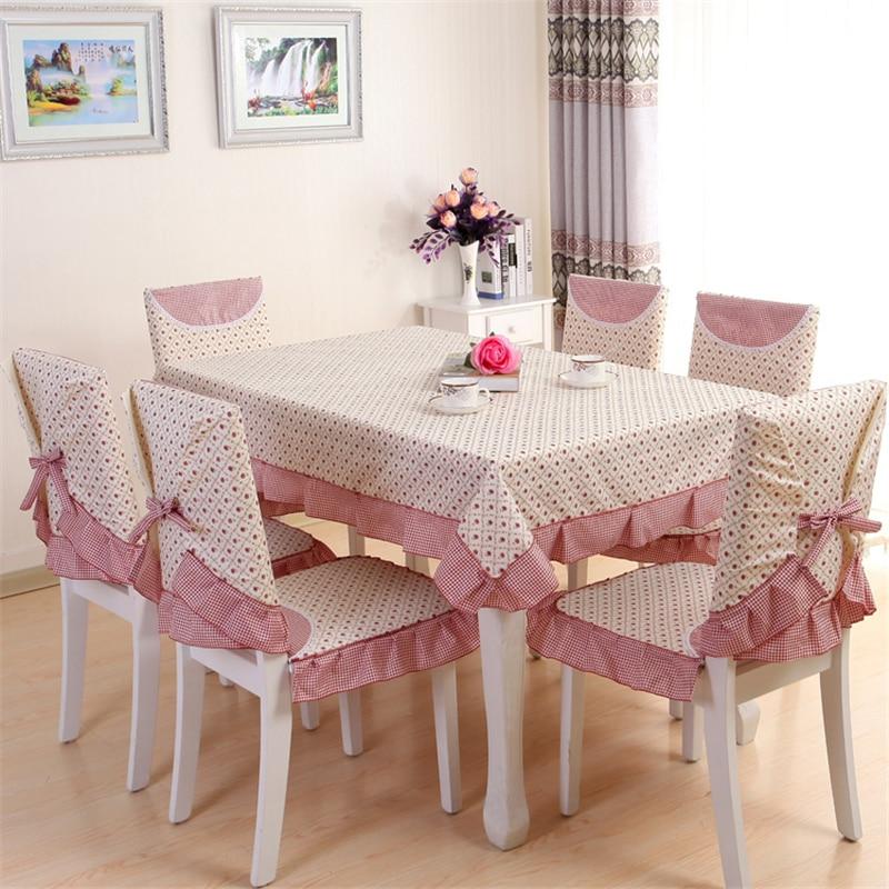 13pcs set pastoral beautiful rose design table cloth set for Chair cloth design