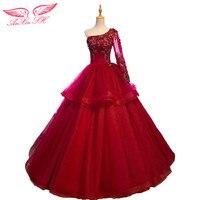 Anxin sh赤いビーズフラワーレースフリルイブニングドレスプリンセスワインレッドワンショルダーロングスリーブイブニングドレス