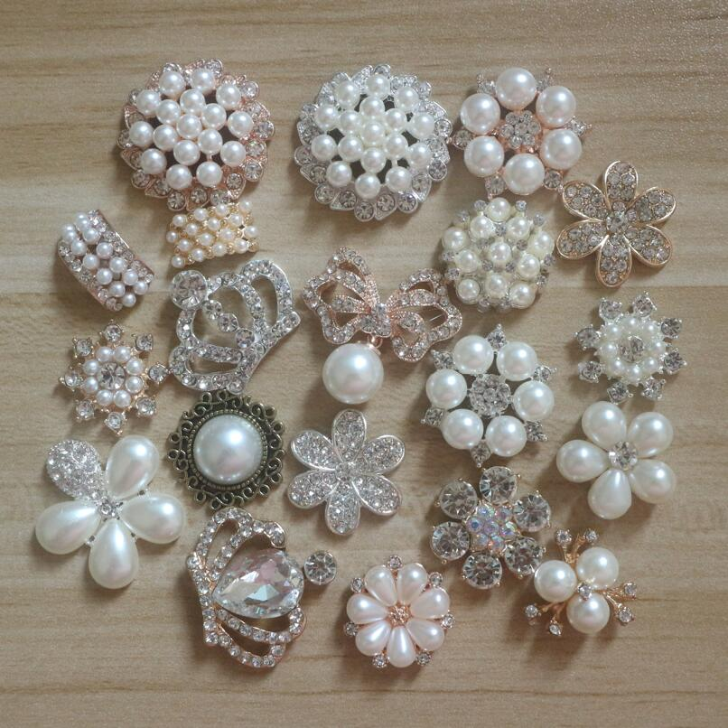 20pcs/lot Mix 20styles Rhinestone Pearl Hair Embellishments Accessories Hairbow Center Decoration Adornment DIY Craft Supplies