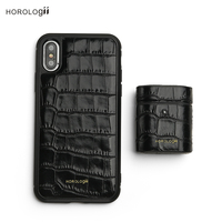 Horologii Custom Name Free gift set case for iphone X 11 Pro Max case for airpods crocodile pattern leather dropship