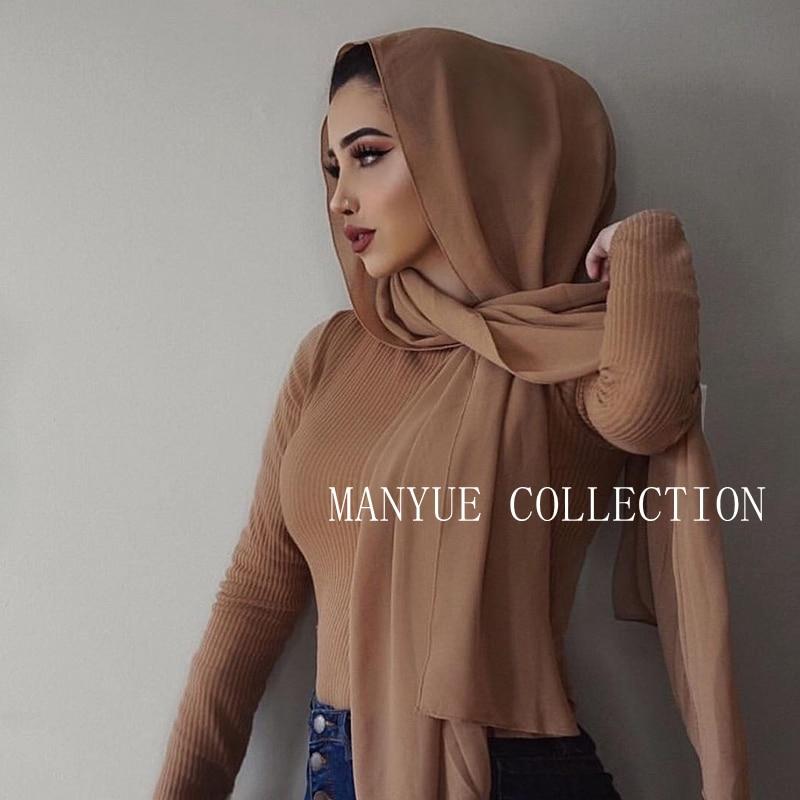 Muslim Scarf Women Plain Bubble Chiffon Hijab Scarf Head Wraps Soft Long Muslim Head Scarf Georgette Scarves Hijabs