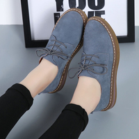 Cow Suede Leather women Flats oxford shoes Spring Ladies sneakers Loafers Casual Shoe 2018 Moccasin Plus Size Autumn Boat Shoes 5