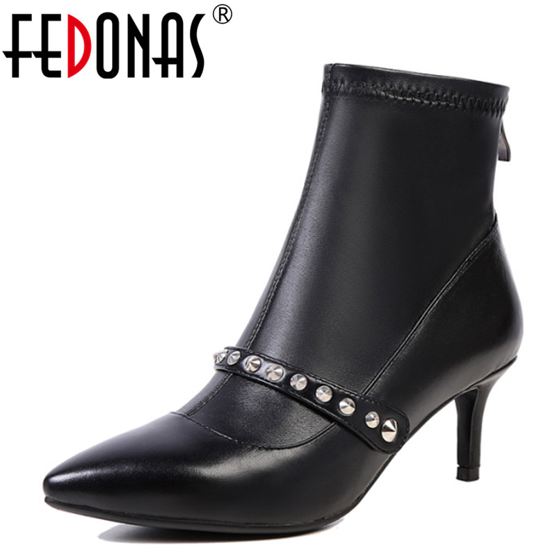 FEDONAS New Women Black Ankle Boots Thin High Heel Buckle Rhinestone Punk Platforms Botas Mujer Shoes Woman Short Martin Boots 2016 new winter women black high heel martin ankle boots buckle gothic punk motorcycle combat boots shoes platform free shipping