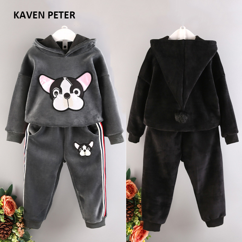 Child Winter sports suit 2017 fashion kids sportswear pleuche girls hooded jacket long-sleeved sport suit boys animal wear [free shipping] 2015 new arrival fashion female 1 4 years child love baby cashmere long sleeved jacket trousers leisure suit