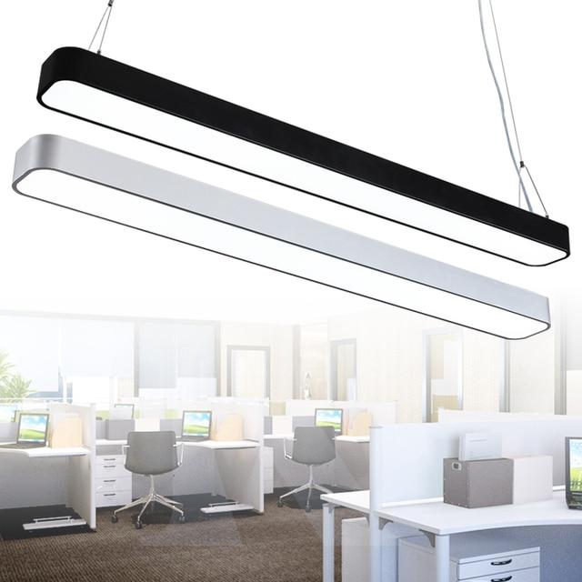 led rechthoekige moderne kantoor verlichting hanglampen minimalistische afgeronde grens aluminium smalle strip kantoor hanglamp bg16