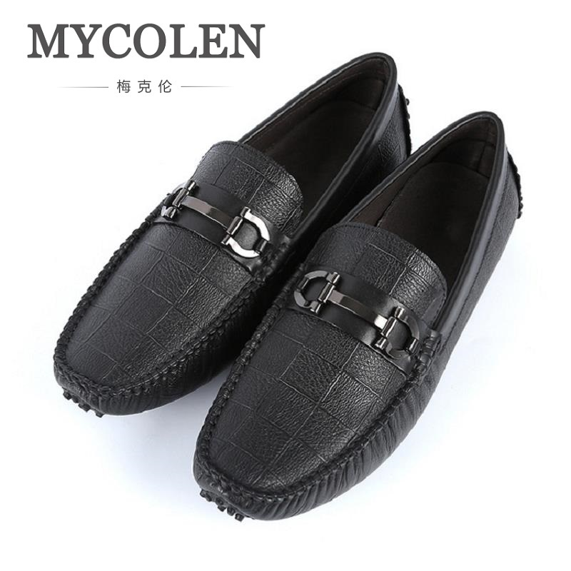 MYCOLEN 2018 Men Casual Shoes Leather Fashion Driving Shoes Male Loafers Moccasins Italian Shoes For Men Flats Ayakkabi zplover fashion men shoes casual spring autumn men driving shoes loafers leather boat shoes men breathable casual flats loafers