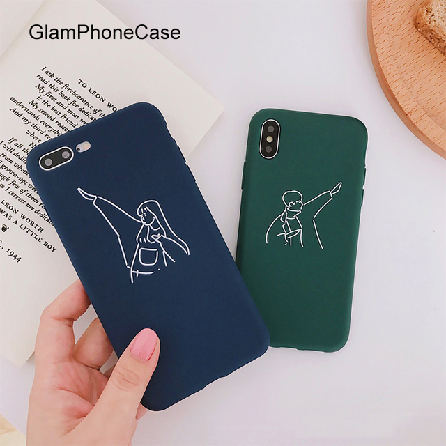 c6167f06c3 GlamPhoneCase Cute Boy Girl Couple Lovers Phone Case For iphone X Case Soft  TPU Clear Back Cover For iphone 6S 6 7 8 Plus Capa