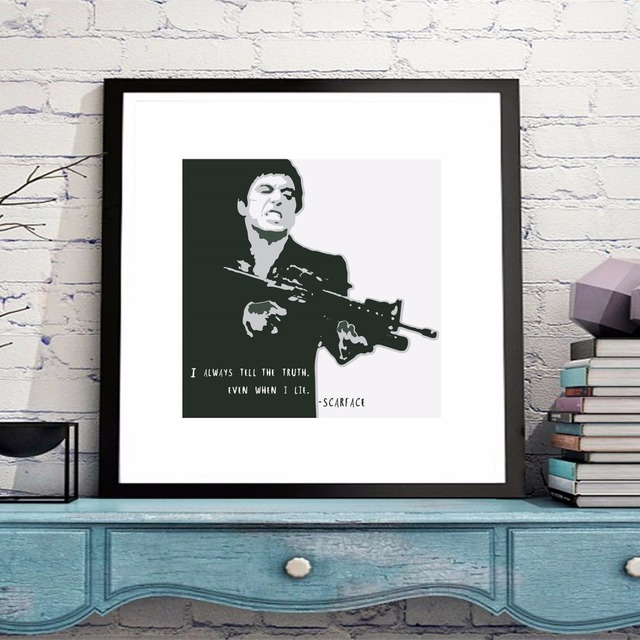 Scarface Portrait Movie Canvas Art Print Painting Poster Wall ...