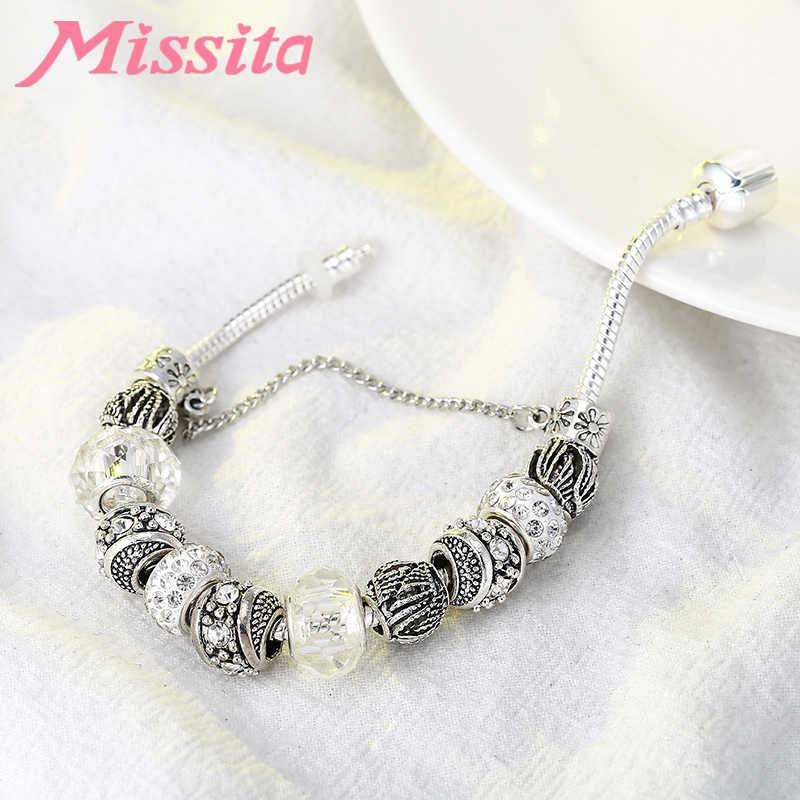 MISSITA אופנה כסף קסם צמיד עם קריסטל כדור ברור חרוזים צמיד לנשים תכשיטי מותג מתנת יום נישואים מכירה לוהטת
