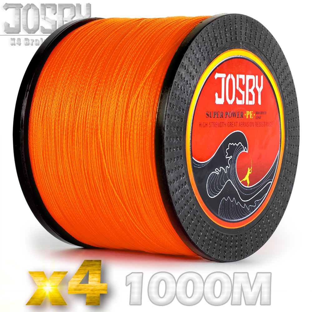 JOSBY Braided Fishing Line 1000M Multifilament PE 4 Strands Fishing Cord 10LB-85LB Strong Japan Technology Orange green 9 colors