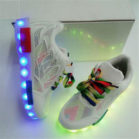 2017 Autumn New Light Child Single Shoes Women Breathable Net Shoes USB Charging Hollow Shoes LED