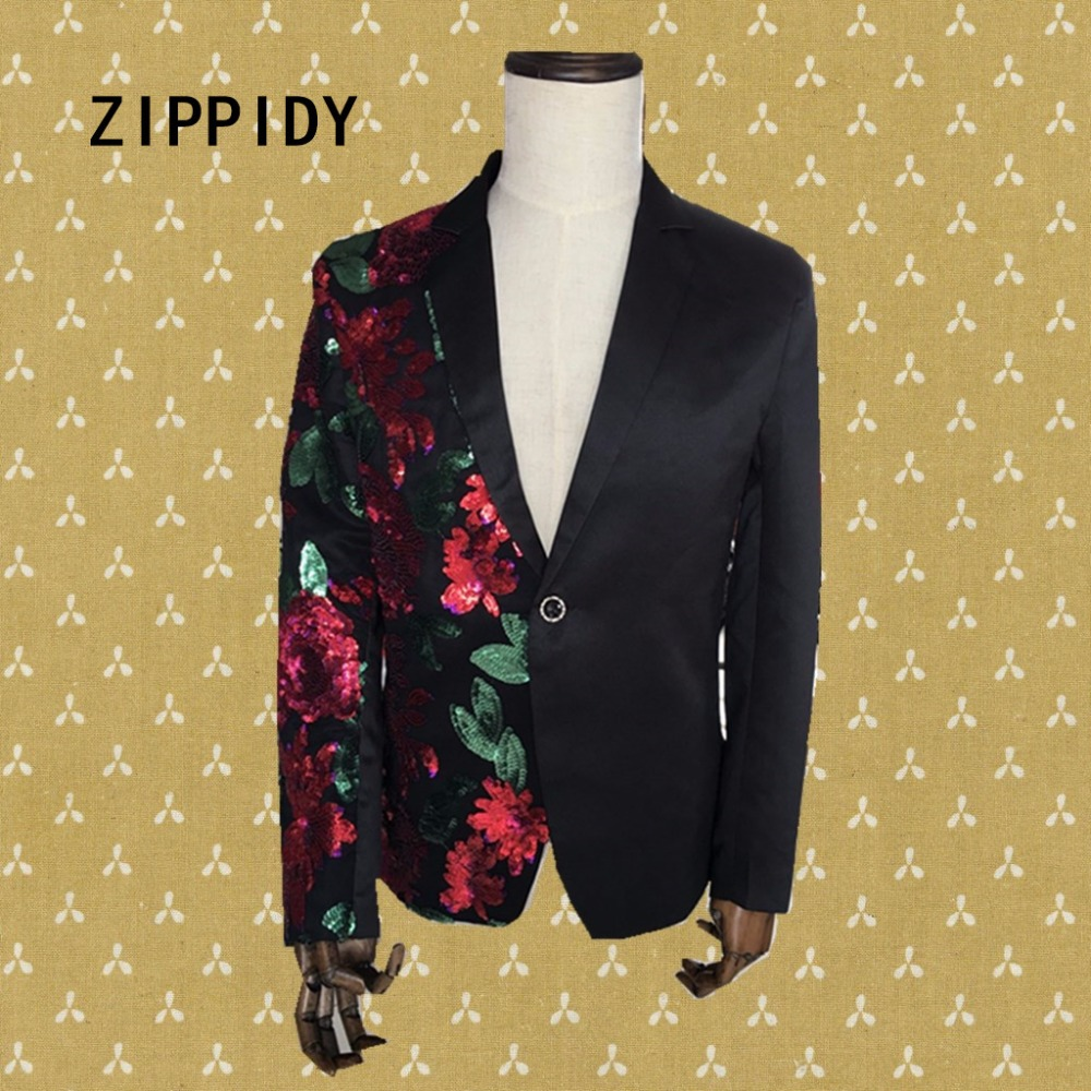 Red <font><b>Green</b></font> <font><b>Sequins</b></font> Flowers <font><b>Men's</b></font> Suit <font><b>Jacket</b></font> Wedding Nightclub Male Singer Sparkly Blazer Costumes Ds Dj Performance Party Wear image