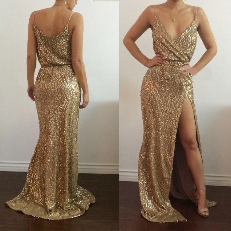 2018 New Fashion Gold Sequin Dress Women Sexy V Neck