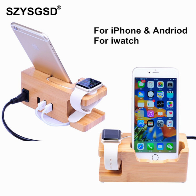 premium selection ec749 ab71f US $14.42 19% OFF|For iphone apple watch Charging Dock Station for Iphone  XS XR 8 7 7 Plus 6s 6 Plus 5S SE Wooden 3A Stand Holder Charger USB Port-in  ...