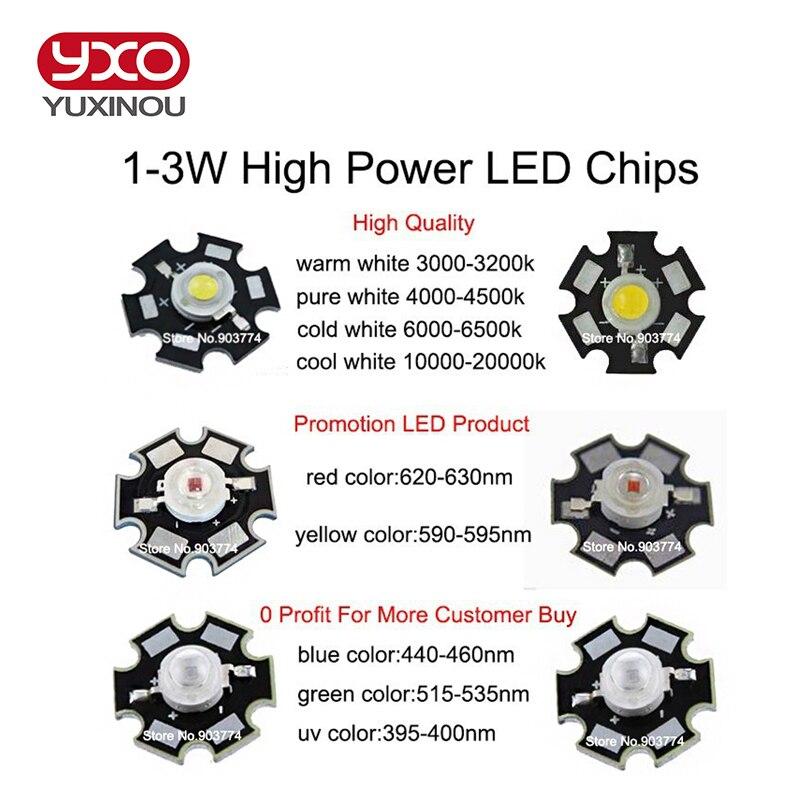 10pcs//lot Epistar 3w//1w puces DEL Ampoule à Diode Lampe UV pour Aquarium Grow