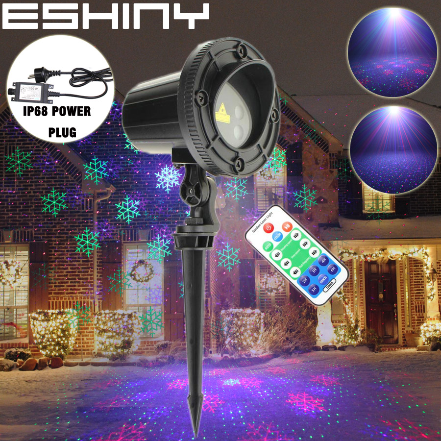 Eshiny Outdoor Waterproof Rgb Laser Snow Patterns Projector Color Holiday Party Xmas House Tree Dj Landscape Garden Light T60 2019 New Fashion Style Online