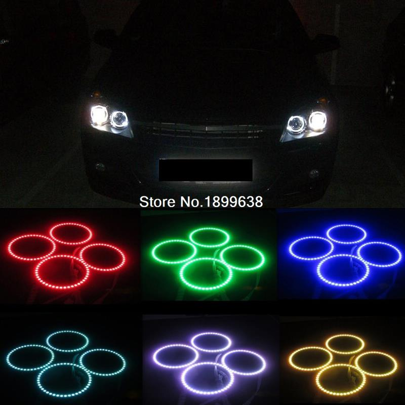 4PCS Super bright 7 color RGB LED Angel Eyes Kit with a remote control car styling For Opel Astra H NON projector headlight 2pcs purple blue red green led demon eyes for bixenon projector lens hella5 q5 2 5inch and 3 0inch headlight angel devil demon