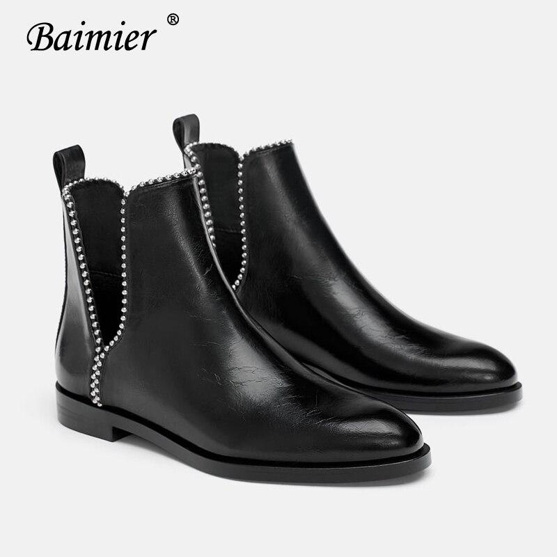 Redondo Bajo Tobillo Boots De Mujer Las Del Talón Resbalón Mujeres Negro Para Remache Pie Black Botas Dedo Plata Planas Moda En Cuero Baimier 7OZpSS