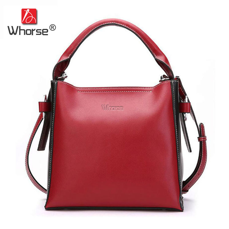 [WHORSE] Brand Vintage Genuine Leather Bucket Bags For Women Casual Tote Crossbody Messenger Shoulder Bag For Mother W09400 women genuine leather handbags 2017 brand european style shoulder bags for ldies messenger bags casual tote printing mini bag